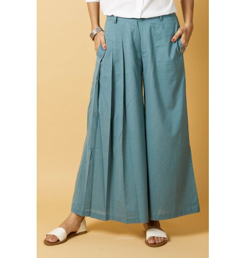 TEAL ONE SIDE PLEATED TROUSER