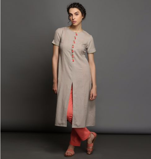 Bonsai Tint Kurta with peach tassels