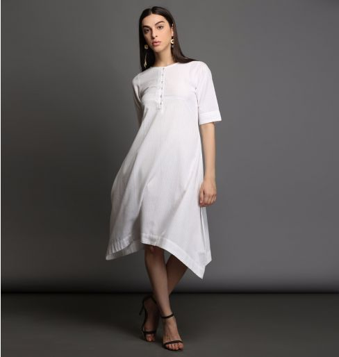 White self kurta with asymmetric hem