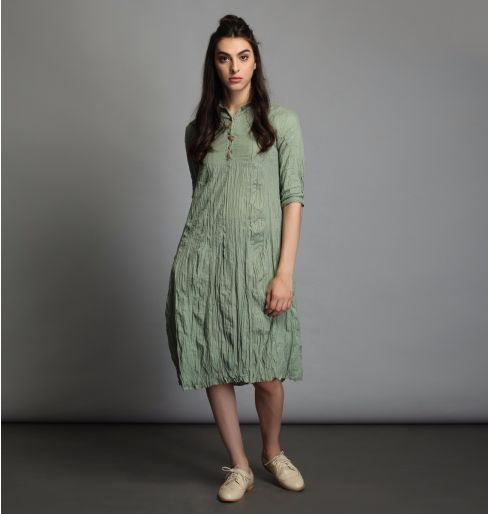 Fern Green Wrinkle Dress