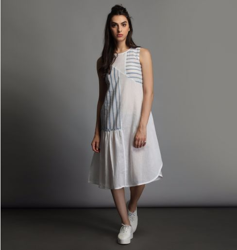White Dress with Blue Stripes