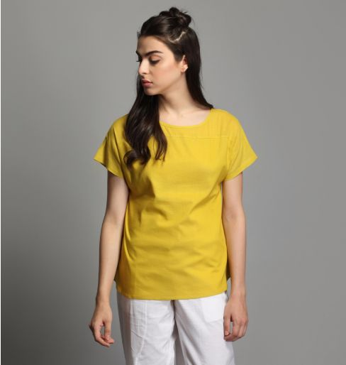 Yellow Cap Sleeve Top