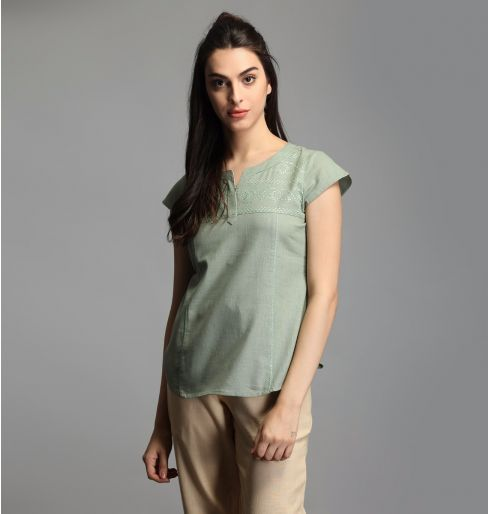 Fern Green Cap Sleeve Top