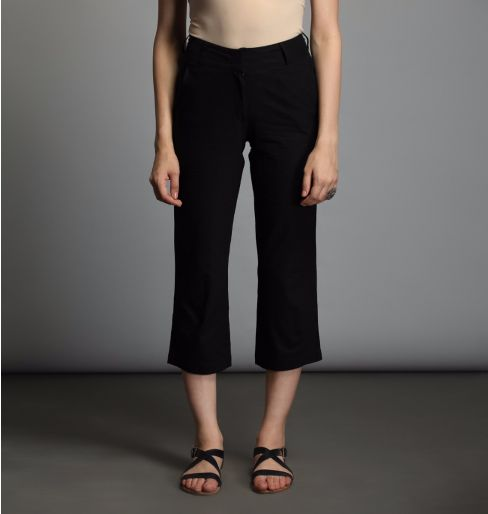 Black cotton capri