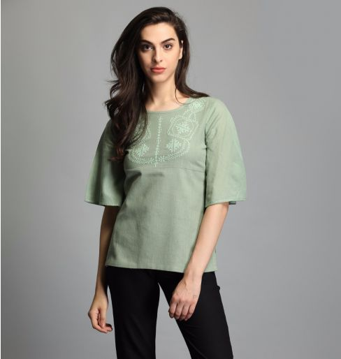 Fern Green Butterfly Sleeve Top