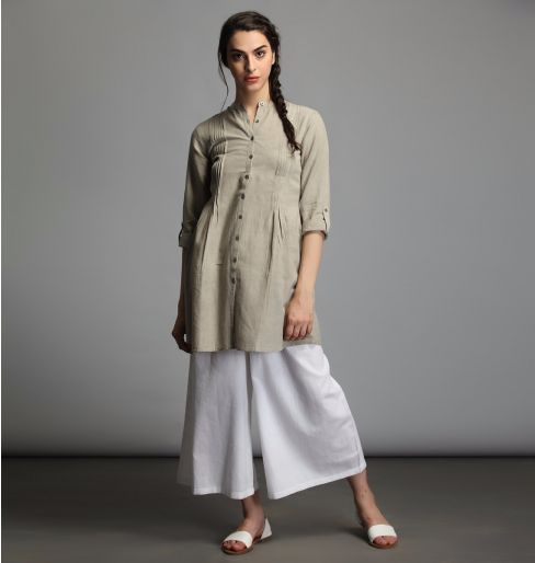 Earthy Grey Cotton Pintuck Tunic