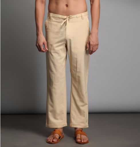 Beige Straight Pants