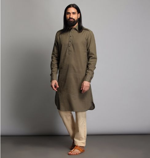 Olive Green Pathani Kurta