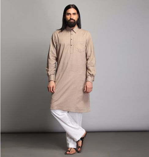Oatmeal Collared Long Kurta