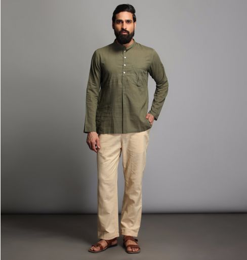 Mehandi Green Full Sleeve short kurta