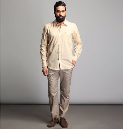 Beige Full sleeve shirt with brown detailing