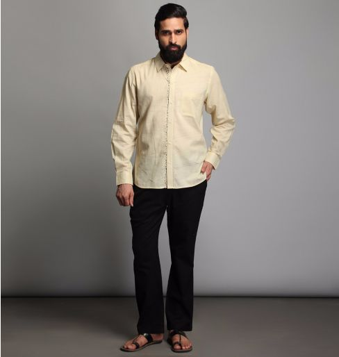 Bisque full sleeve shirt with floral detailing