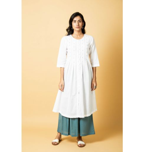 Box Pleat Embroidered Long Kurta