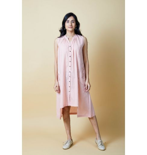 PINK EASY FIT SLEEVELESS DRESS