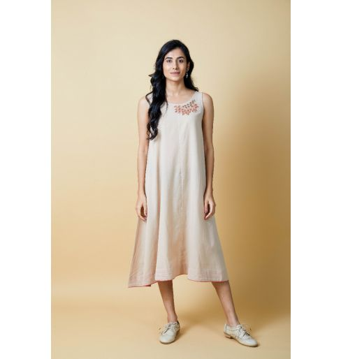 BEIGE EMBROIDERED FLARED DRESS