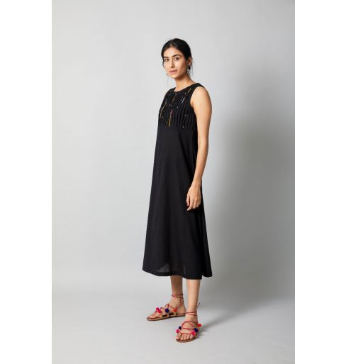 PINTUCK EMBROIDERED BLACK DRESS