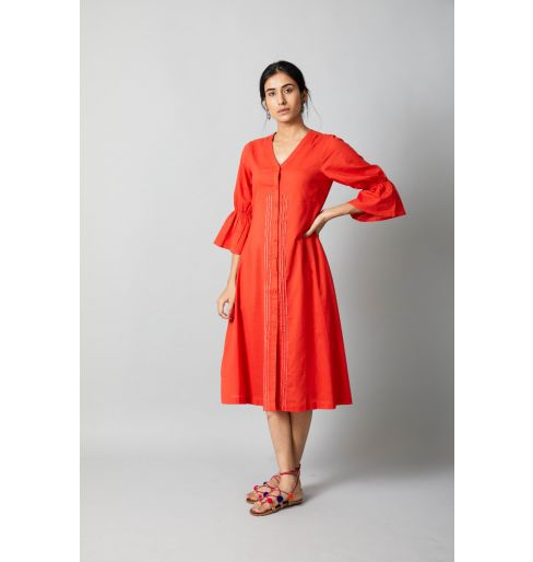 Orange Puff Sleeve Dress