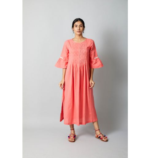 CORAL EMBROIDERED LONG DRESS
